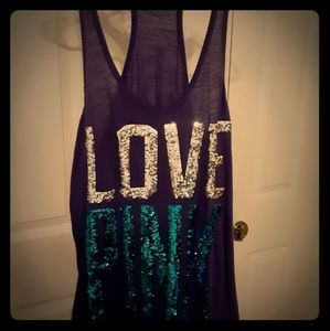 Victoria secret pink collection purple sequin tank